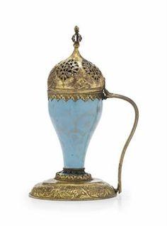 AN UNUSUAL GILT-COPPER (TOMBAK) MOUNTED BEYKOZ GLASS INCENSE BURNER OTTOMAN TURKEY, 19TH CENTURY