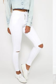 8bb32fe35f High Waist Cut Out Holes Solid Color Long Pencil Pants White Ripped Jeans,  High Waist