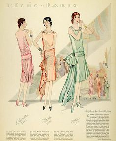 McCall's magazine, 1928 featuring McCall 5243 by Lebouvier, 5224 by Worth and 5221 by Patou