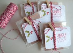 Fun DIY gift idea! Wrap a treat (like a chocolate bar) in a bag. Add twine and a stamped tag on top. (The words on this tag are from the Jingle All the Way by Ali Edwards stamp set from TechniqueTuesday.com.) Might have to do this for Valentine's Day.
