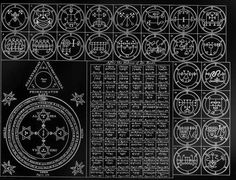 """Lesser Key of Solomon seals; the basis for almost all """"evil"""" art in things like… Occult Symbols, Occult Art, Occult Books, Magic Symbols, Sacred Symbols, Necronomicon Lovecraft, Seal Of Solomon, King Solomon, Maleficarum"""
