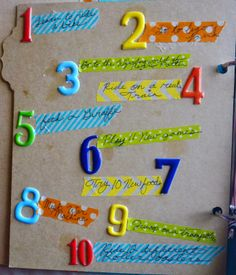 Start a bucket list album with your kid using a simple stories album. Washi tape list of items.