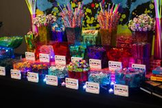 80s Themed Candy Buffet. Photos courtesy of B. Marie Photography. Design by Events By r.e. Interiors.
