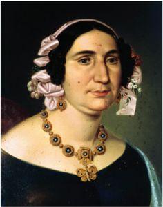 Pormenor do retrato de D. Lucrécia Júlia Doroteia Teixeira de Figueiredo, pintada por Almeida Santos, em 1848
