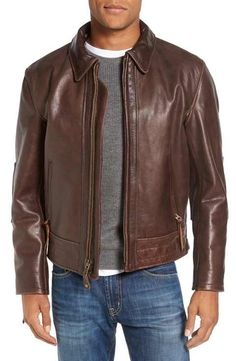 Schott NYC Antique Vintage Style Leather Moto Jacket