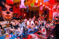 Day of the Dead is a lively Mexican-themed bar near Bangtao Beach in Phuket, Thailand Mexican Restaurant Design, Mexican Bar, Restaurant Bar, Mexican Restaurants, Bar Mexicano, Restaurants Outdoor Seating, Bamboo Bar, Vintage Cafe, Bar Interior