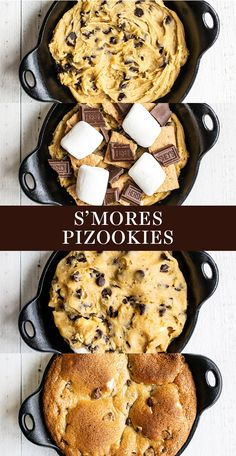 Ultra ooey and gooey S'mores Pizookie features chocolate chip cookie dough stuffed with marshmallow, Hershey's chocolate, and graham cracker bits baked in a mini skillets. Easy homemade recipe, great for a simple summer dessert or fun kid's birthday treat Iron Skillet Recipes, Cast Iron Recipes, Skillet Meals, Pizookie Recipe, Cookie Recipes, Dessert Recipes, Bakery Recipes, Candy Recipes, Brownie Recipes