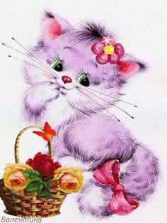 GIFS HERMOSOS: cosas bonitas encontradsd en la web Kitten Cartoon, Cute Cartoon, Merci Gif, Animals And Pets, Cute Animals, Beau Gif, Kitten Images, Image Chat, Good Night Gif
