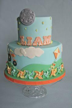 Vintage Childhood Pinwheels Birthday Cake
