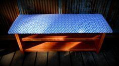 """42"""" Upholstered Top Shoe Rack Bench - Blue Greek Key. $160.00, via Etsy."""