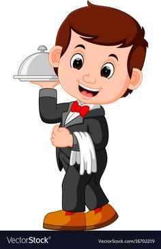 Waiter restaurant serving cartoon vector image on VectorStock Cartoon People, Cartoon Faces, Cartoon Drawings, Easy Drawings, Character Sketches, Character Illustration, Animation Character, Cartoon Kunst, Cartoon Art