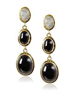 72% OFF Saachi Triple Stone Onyx Drop Earrings