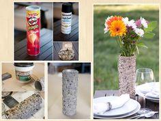 Faça Você Mesmo um vaso decorativo reutilizando uma lata de batata e algumas pedras. Um trabalho rústico e diferente, mas que permite uma linda composição.