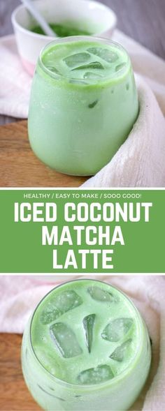 Iced Coconut Matcha Latte is the perfect antioxidant-rich drink that will make y. - Iced Coconut Matcha Latte is the perfect antioxidant-rich drink that will make your mornings so muc - Smoothie Drinks, Healthy Smoothies, Green Tea Smoothie, Green Smoothies, Healthy Drinks For Energy, Boost Energy Drink, Healthy Juices, Healthy Meals, Yummy Drinks