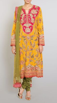 Yellow Embroidered Silk Suit