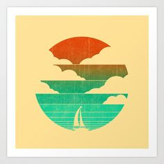 Go West (sail away in my boat) Art Print by Budi Satria Kwan - http://society6.com  19.97