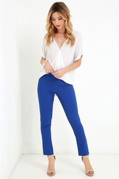 Piano Piece Cobalt Blue High-Waisted Trouser Pants at Lulus.com!