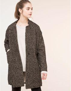 Pull&Bear - femme - manteaux et parkas - manteau à chevrons fourrure intérieur - gris anthracite - 09752326-I2015