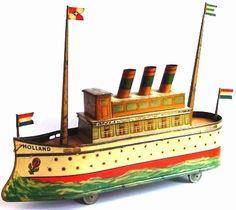 Vintage Holland Tin Toy Cruise Ship. c.1920's