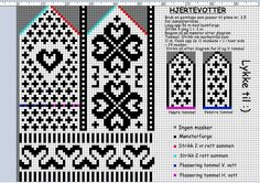 Hjertevotter; Norwegian mitten pattern. Baby Hats Knitting, Knitting Charts, Lace Knitting, Knitting Socks, Knitting Patterns, Knitted Mittens Pattern, Knitted Gloves, Fair Isle Chart, Mittens