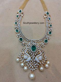 Diamond Emerald Haram with Swan Pendant photo