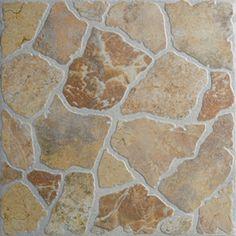 FLOORS Stone Henge Red and Tan Stone Pattern Glazed Porcelain Indoor/Outdoor Floor Tile (Common: x Actual: x