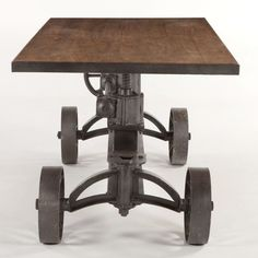 "62"" industrial dining crank old teak wood black iron adjustable up to bar high"