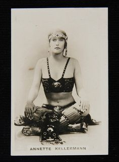 Cigarette card with photograph of Annette Kellerman in costume from the film A Daughter of the Gods, c 1916  No known copyright restrictions per source.
