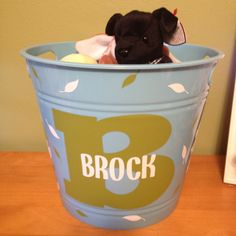 Name bucket. Vinyl idea. Fill with baby items for a baby shower