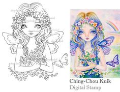 Flowery - Digital Stamp Instant Download / Butterfly Wild Flower Life Fairy Faery Girl Fantasy Art by Ching-Chou Kuik