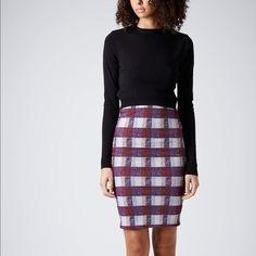 Topshop red plaid tube skirt SZ 4 Stretch high waisted tube skirt Topshop Skirts Pencil