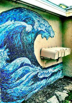 great wave stained glass mosaic mural