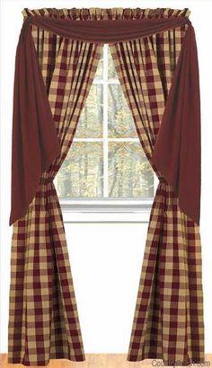 Primitive Country Window Treatments | rustic window treatment ...