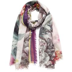 Ama Pure FlowerPower Porpora Scarf (31.525 RUB) ❤ liked on Polyvore featuring accessories, scarves, multi, cashmere scarves and cashmere shawl