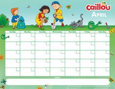 Printable Caillou Calendar – April 2017