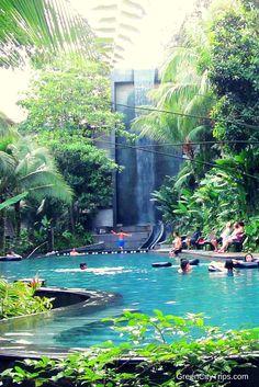Pool with waterfall at Siloso Beach Resort, Sentosa Island, Singapore | Green City Trips http://greencitytrips.com/destination/singapore/