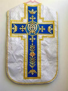 Silver Marian Traditional Roman chasuble fiddleback 5pcset vestment Tridentine