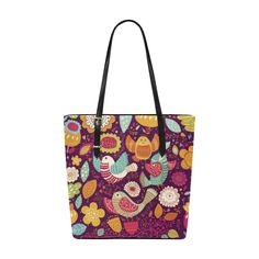 Cute Birds and Flowers Floral Pattern Euramerican Tote Bag/Small (Model 1655)