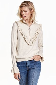 Fine-knit jumper with a frill - Light beige marl - Ladies Cool Sweaters, Winter Sweaters, Sustainable Clothing, Sustainable Fashion, Sustainable Style, Fashion 2017, Fashion Online, Winter Blouses, Estilo Fashion
