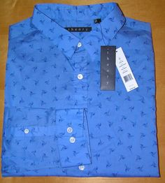 THEORY Men's Zack PS Blue Lunada Print Casual Sport Shirt LS XL X-Large NEW $195 #Theory #ButtonFront