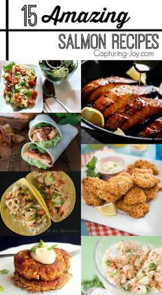 15 Amazing Salmon Recipes!  From grilled to baked to tacos and pasta! Great dinner recipes!
