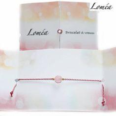 Bracelet à voeux cordon fin en soie rose, perles en quartz rose et en plaqué or gold filled : Bracelet par lomea