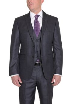 690ad13df936 Calvin Klein Extreme Slim Fit Gray Textured Three Piece Suit With Peak  Lapels at Amazon Men's Clothing store: