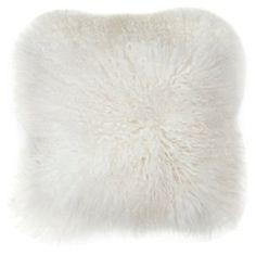 Mongolian 16x16 Lamb Pillow, Cream