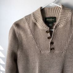 Eddie Bauer 4 Button Sweater This men's oatmeal colored sweater was never worn so it is in mint condition. Eddie Bauer Sweaters