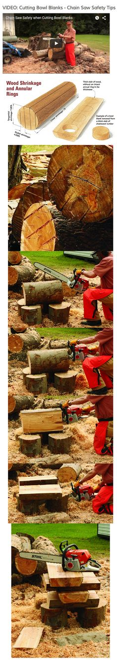 Cutting your own bowl blanks can save you a lot of money. Here's how to safely cut them with a chain saw. - Article from Woodworker's Journal with Video   #woodworkersjournal #bowls #turning