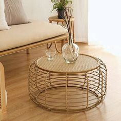 Modern Handwooven Rattan Round Coffee Table Tea Serve Table | Etsy Used Coffee Tables, Wicker Coffee Table, Round Coffee Table, Bamboo Furniture, Small Furniture, Living Room Furniture, Home Furniture, Accent Furniture, Furniture Design