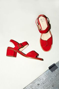 No.6 Taylor Buckle Sandal in Flame Suede
