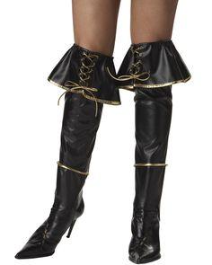 Pirate Caribbean Ladies Boot Covers Black & Gold