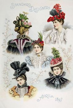 A collection of beautiful and varied fashionable hat designs for ladies, during America's Gilded Age. This fashion plate was published in, The Standard Designer Magazine, (New York City, April, c.1897). ~ {cwlyons} ~ (Print by: Everett)